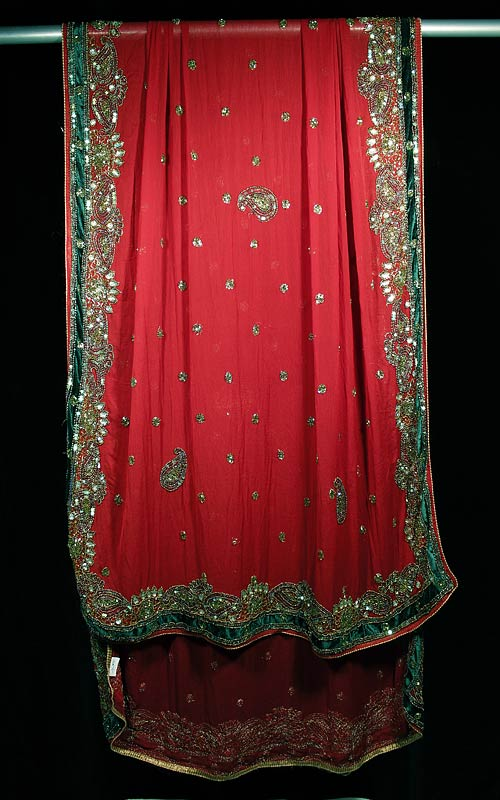 Röd Indisk Dupatta