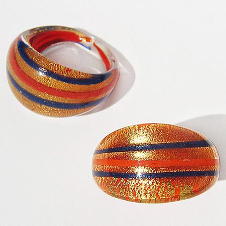Orange/Blå Glasring Guld Small