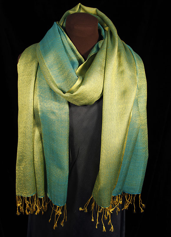 Diamond DeLux Marinblå-Grön Sjal