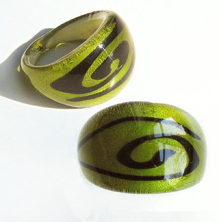 Maffig Grön Slinga Glasring  XLarge