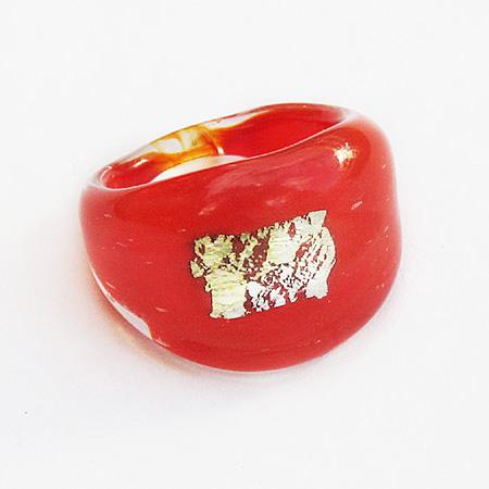 Röd Ruta Glasring Small