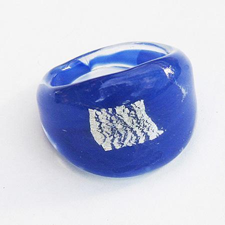 Blå Ruta Glasring Medium
