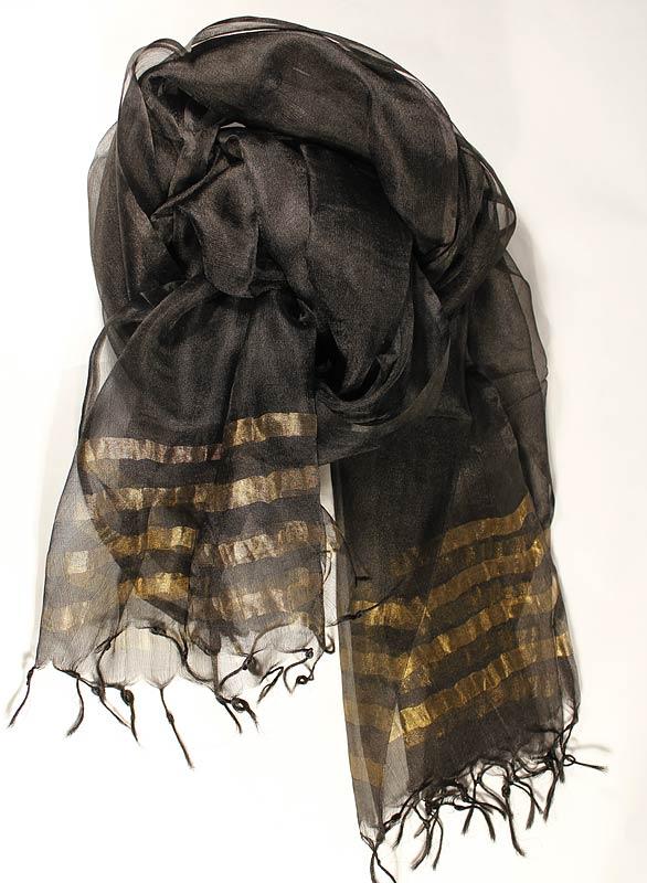 Svart-Guld Transparent Sjal