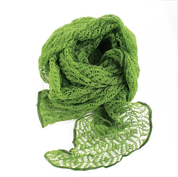 Spetssjal Ärtgrön Mariedal Design