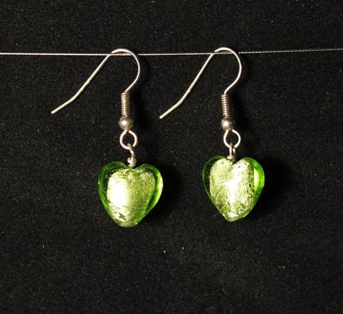 Limegröna Örhängen Mini Hjärta