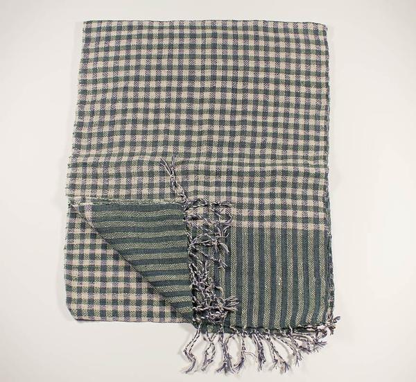 Grön-Blå Rutig Bomullssjal