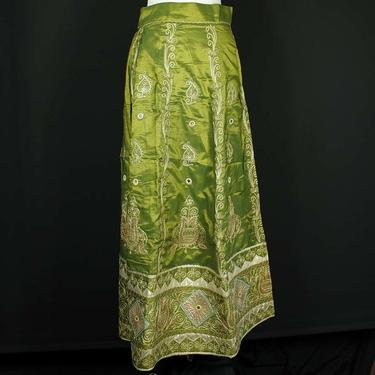 Grön-Guld Indisk Kjol / Lehenga