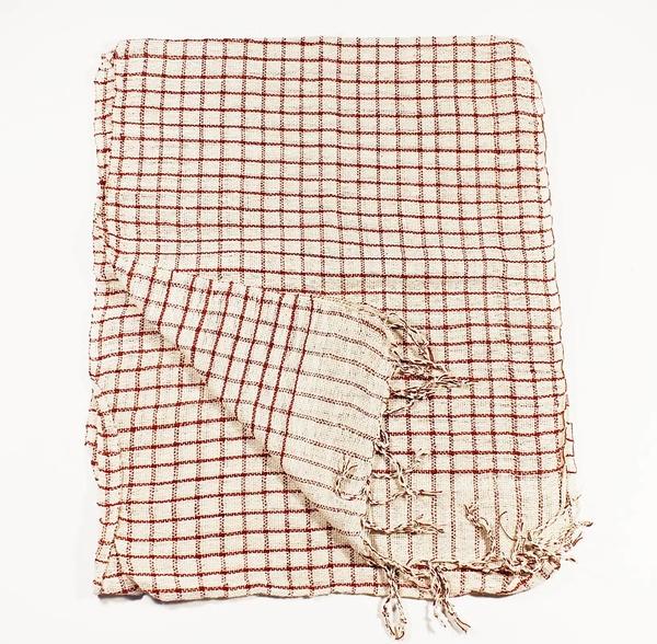 Vit-Röd Rutig Bomullssjal