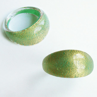 Grön Guld Glasring Small