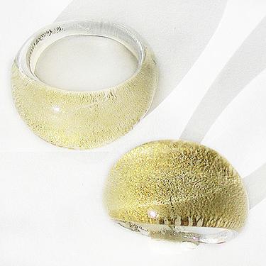 Vit Guld Glasring Medium