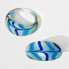 Blå Våg Glasring Medium