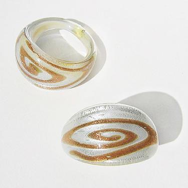 Vit-Guld Glasring Small