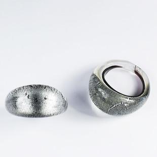 Svart Silver Glasring Medium