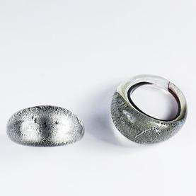 Svart Silver Glasring Small