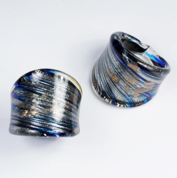 Maffig Blå-Silver Glasring Medium