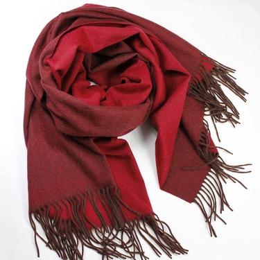 Dubbelvävd Röd-Vinröd Lammulls Sjal