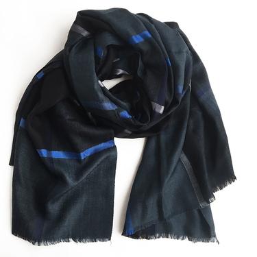 Klassisk Grå-Svart-Blå Ullsjal De-Lux