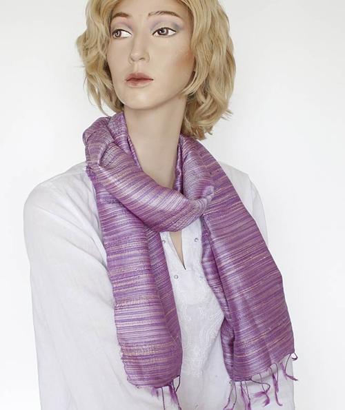Strimma Violett Sidensjal