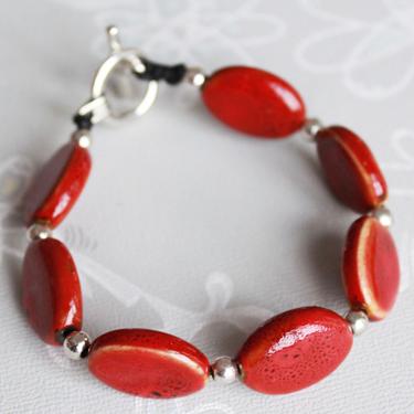 Keramikarmband Oval Röd