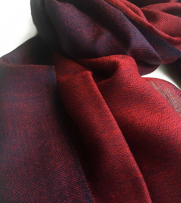 Diamond DeLux Röd-Marinblå Sjal