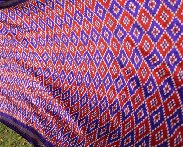 Ikat Sari Blå-Röd