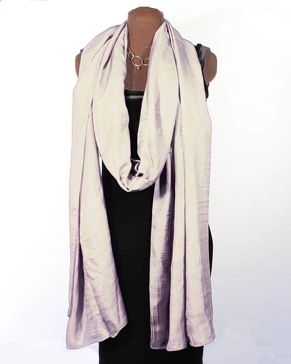 Silvergrå Sidensjal Isabelle