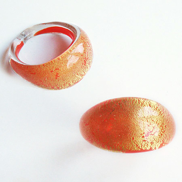 Orange Guld Glasring Small