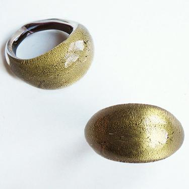 Svart Guld Glasring Small