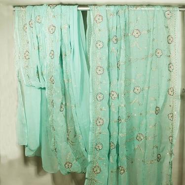 Mintgrön Rajastani Sari