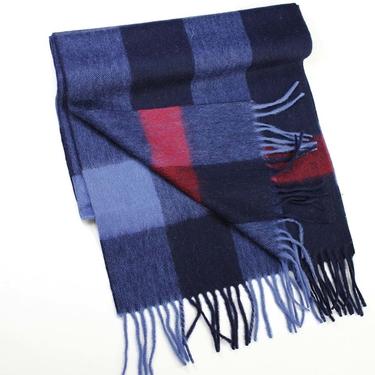 Marinblå-BlåRutig halsduk Kashmir & Ull