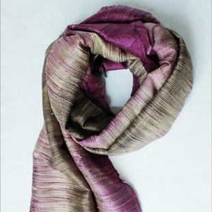 Violett-Brun Silkessjal Ikat